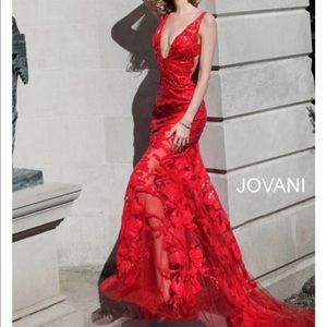 Jovani Sequined Deep V-Neck Trumpet Dress
